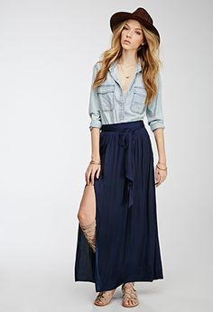 Shirred Sateen Maxi Skirt | FOREVER21 - 2052288111