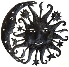Le Primitif Galleries Haitian Recycled Steel Oil Drum Outdoor Decor, 23 by 23-Inch, Heavenly Sun and Moon * Be sure to check out this awesome product. (This is an affiliate link and I receive a commission for the sales)