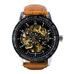 a9020546e5b6dc Jean Constantine Montre mécanique automatique, montre squelette noire dorée  avec bracelet en cuir véritable