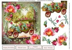 Country Flower Rose Cart Topper Decoupage on Craftsuprint - Add To Basket!
