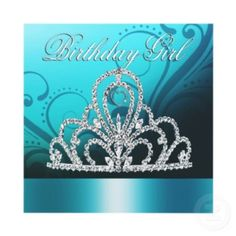 princess tiara birthday, girl ,tiffany blue invitation
