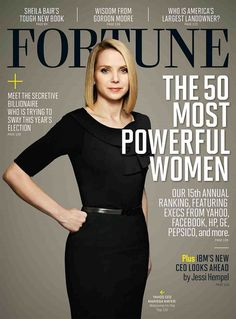 One of the most prolific women in the online world:   Marissa Meyer - Google's 20th hire and first female engineer is now the CEO of Yahoo Inc.     Mayer loves fashion, lives in a penthouse in San Francisco and was ranked No.14 on the list of America's most powerful businesswomen of 2012 by Fortune magazine.