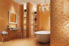 kräftige-fliesenfarben-florale-motive-luxus-wände-im-bad-gestalten-ideen-orange