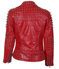 Hand Painted FEMALE POWER Fist Studded Collar 80s Vintage Red Leather Trench