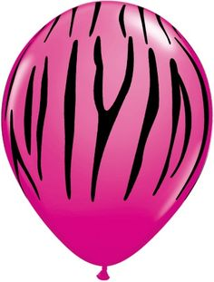 """Add some pizzazz to your party with our 12"""" hot pink and black zebra print latex balloons!  Sold in packages of 8."""