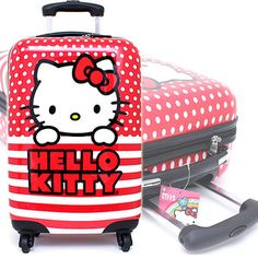 Sanrio Hello Kitty 20 Hard Case Luggage Suit Case Trolley Bag Red Stripe Dots | eBay