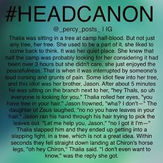I thought Thalia was afraid of heights Percy Jackson Head Canon, Percy Jackson Quotes, Percy Jackson Books, Percy Jackson Fandom, Thalia Grace, Jason Grace, Tio Rick, Uncle Rick, Solangelo