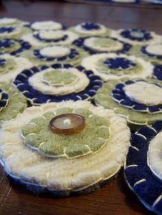 Penny rug table runner blue green cream with buttons by Scissaroo, $35.00