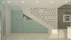משרביית משושים המשמשת כמעקה דקורטיבי ומחיצה בין חלל המדרגות למטבח - אופציה ב - ארון מטבח כפרי בצבע תכלת