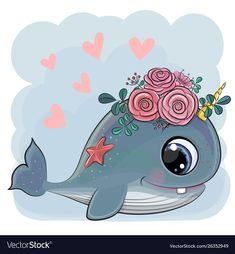 Illustration about Cute Cartoon Whale with flowers on a blue background. Illustration of birthday, face, kids - 152091826 Cartoon Whale, Rainbow Cartoon, Kitten Cartoon, Cartoon Panda, Cartoon Elephant, Cute Cartoon Girl, Baby Cartoon, Disney Cartoon Characters, Princess Cartoon