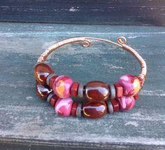 Beaded Bangle bracelet Kazuri beads copper by ScarletMareStudio, $36.00