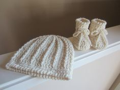 Baby Hat with Matching Booties, Newborn to Toddler Sizing, Crocheted, Cream Off White Color, Washable Wool Blend, Shower Gift, Photo Prop by TooCozy on Etsy