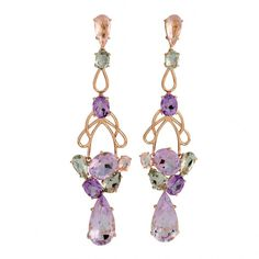 Gemstone and gold earrings by Vianna