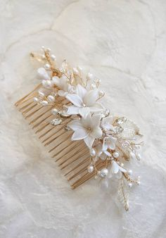Bespoke for Louise_gold leaf bridal hair comb with flower buds 4