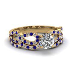 Infinity Set || Round Cut Diamond Wedding Set With Blue Sapphire In 14K Yellow Gold