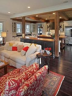 Home Design Ideas: 17 Open Concept Kitchen-Living Room Design Ideas (. Craftsman Living Rooms, Craftsman Kitchen, Farmhouse Living Rooms, Cottage Style Living Room, Craftsman Style, Living Room And Kitchen Design, Design Kitchen, Living Room With Color, Living Room Styles