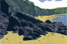 COLLAGRAPH PRINT  Mabou Coal Mines Beach Revisited  by magprint