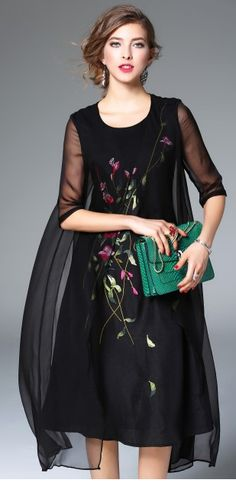 Black Silk Floral Embroidery Sheer Half Sleeve A-line Midi Dress