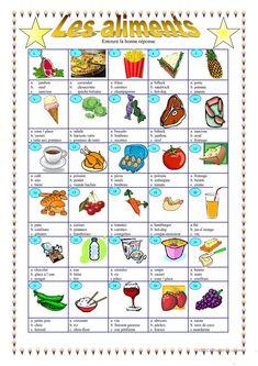 Les aliments fiche d'exercices - Fiches pédagogiques gratuites FLE