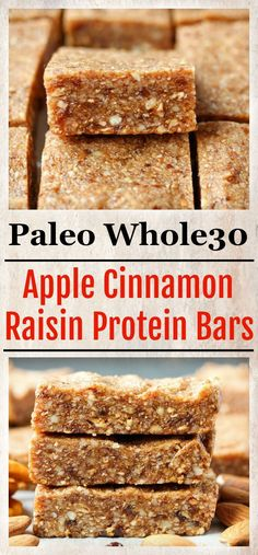 These Paleo Apple Cinnamon Raisin Protein Bars are a copycat version of the kids RXBAR. They are simple to make don't require any baking and make a great snack. gluten free dairy free and sweetened only with fruit. I am no stranger to RXBAR's Paleo Recipes Easy, Whole 30 Recipes, Real Food Recipes, Yummy Food, Dairy Free Protein Bars, Paleo Bars, Easy Protein Bars, Protein Bar Recipes, Protein Cake