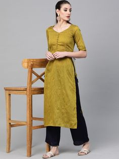 Beautiful lime green embroidered aline kurta crafted with cotton blend also style with striped pattern. Fashion Dresses, Women's Fashion, Fashion Design, Indian Dresses Online, Lehenga Style, Green Stripes, Daily Wear, Lime, Pattern