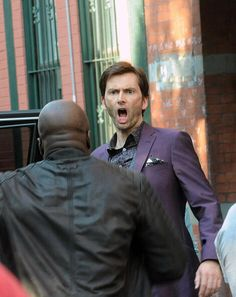 """Marvel's Jessica Jones / Luke Cage and Purple Man- first time I saw this picture I thought he was like """"ANOTHER PERSON COMING TO KILL ME?  AGAIN?!?!""""  I was totally right."""