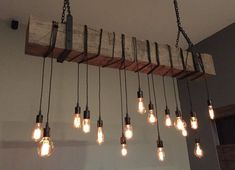 """48"""" Reclaimed Wooden Barn Beam Light Fixture with Brackets and Wrapped LED Edison Bulbs - Rustic Modern Industrial Chandelier lighting by 7MWoodworking on Etsy"""