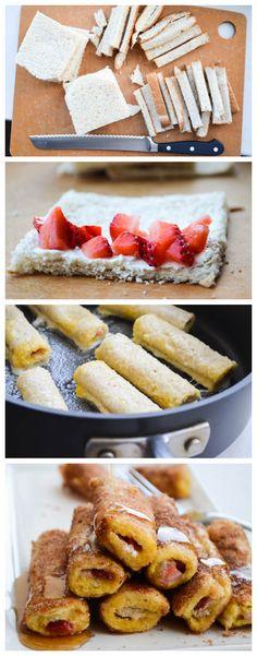 Strawberry French Toast Cannoli's by Rachel Schultz. Looks yummy and super easy. Breakfast Desayunos, Breakfast Recipes, Breakfast Ideas, Dessert Drinks, Dessert Recipes, Desserts, Strawberry French Toast, Yummy Treats, Yummy Food