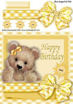 Fuzzy Bear With Little Sunshine In Bow Frame 3d Cards, Cute Cards, Birthday Clipart, Birthday Cards, 3d Sheets, Free Printable Cards, Craft Free, Tatty Teddy, 3d Prints