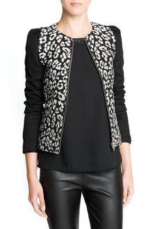Leopard cotton-blend jacket
