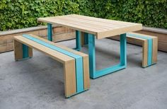 Above image: SR's White Oak Table Set is crafted using powder coated aluminum and tight-grained American white oak hardwood. The color of the powder coating can be customized to your specifications from a collection of 210 colors. Outdoor Table Settings, Outdoor Dining, Outdoor Tables, Outdoor Decor, Picnic Tables, Patio Tables, Outdoor Seating, Outdoor Rooms, Dining Tables