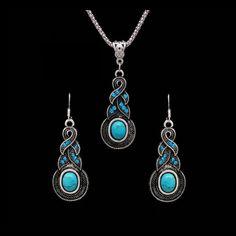 Tibetan Silver Turquoise Necklace & Dangle Earrings Set