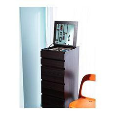 MALM 6-drawer chest - black-brown/mirror glass - IKEA