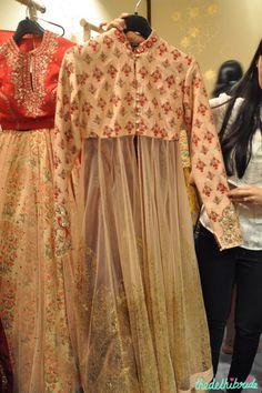 The prettiest jacket anarkali I've seen this year! By Anju Modi at #VogueWeddingShow2015
