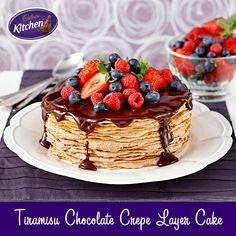 Recipe for Tiramisu Chocolate Crepe Layer Cake Chocolate Crepes, Baking Chocolate, Tiramisu Recipe, Tiramisu Cake, Cadbury Recipes, Cadbury Kitchen, Crepe Cake, Just Cakes, Sweet Recipes