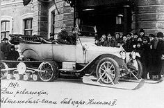 Nikolay II and his rare Delone-Belleville, the car-sledge, of 1917.