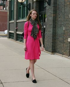Banana Republic gemma wrap dress, The Limited leopard scarf, Soft Style smoking slippers, Longchamp Le Pliage tote.