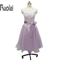 >> Click to Buy << 2017 Elegant Purple Organza Adult bridesmaid dress Scoop Knee-Length Button Lace Sashes For Wedding Prom Party Custom Made #Affiliate