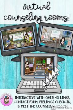 Make distance learning & virtual counseling exciting with these Virtual Counseling Rooms. We have all seen the fun, interactive Bitmoji classrooms, but it takes an enormous amount of time to design & create interactive links for just 1 room! The Virtual Counseling Office, Counseling Classroom, & Calming Corner come pre-linked with over 40 pre-linked objects. #DistanceLearningTpT #Coping #DistanceLearning #Digital #DigitalResources #GoogleSlides #CreativeCounselor #CreativeCounselingResources Virtual Counselor, School Counselor Office, Counseling Office Decor, Elementary Counseling, Counseling Activities, School Counseling, Group Counseling, Social Work Offices, School Social Work