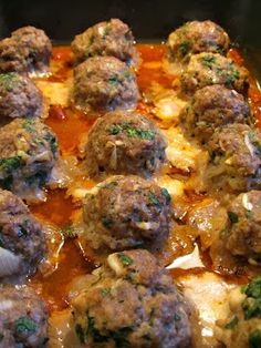 Smoked Mozzarella Stuffed Meatballs - Smoked Mozzarella Stuffed Meatballs - They are tender and flavorful with gooey, smokey cheese on the inside.