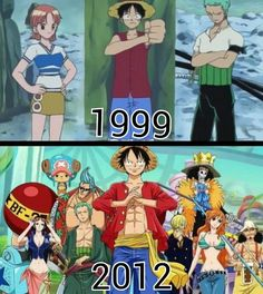 One Piece : 1999 - 2012 : Evolution of the Strawhats - swimwears One Piece Anime, Zoro One Piece, One Piece Comic, One Piece Fanart, One Piece Series, One Piece World, One Piece Pictures, One Piece Images, Manga Vs Anime