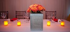 romantic tabletop - orange and yellow roses. Yellow Roses, Wedding Centerpieces, Tablescapes, Tabletop, Romantic, Table Decorations, Orange, Lace, Floral