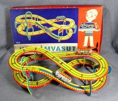 Vintage Lemezarugyar Lemez Hullamvasut Roller Coaster Wind Up Litho Tin Toy Box | eBay