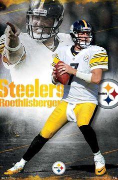 Pittsburgh Steelers - Ben Roethlisberger NFL Football Wall Poster X by… Pittsburgh Steelers Wallpaper, Pittsburgh Steelers Football, Pittsburgh Sports, Football Team, Football Wall, Football Photos, Baseball, Pitsburgh Steelers, Steelers Stuff