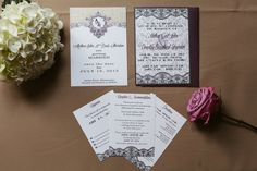 Classic Downton Abbey & Gatsby invitation in White, Grey, and black.  Lace and damask graphics.  Script and art deco fonts with custom lines for RSVP from each family member invited.  Design by Sunrise Styling