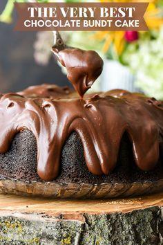 The Best Chocolate Bundt Cake Ever | Neighborfood Chocolate Bunt Cake, Amazing Chocolate Cake Recipe, Decadent Chocolate Cake, Chocolate Chunk Cookies, Homemade Chocolate, Chocolate Desserts, Chocolate Glaze, Moist Chocolate Bundt Cake Recipe, Brownies Caramel