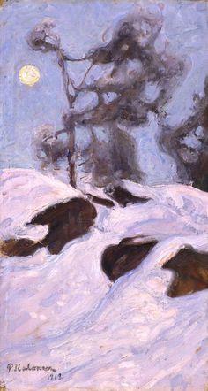 Pekka Halonen - 1912 Light Painting, Oil Paintings, Acrylics, Finland, Northern Lights, Environment, Trees, Snow, Fine Art