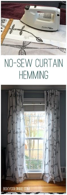 Hem curtains without sewing with iron on hem tape