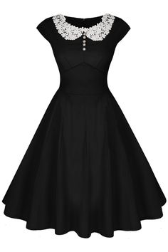ACEVOG Women's Cap Sleeve 1950s Style Vintage Black Lace A-line Dress, Black, Small