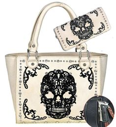 """Embroidered Sugar Skull on the front. A zipper enclosure on top of the bag. Inside of bag include a zippered pocket and 2 open pockets. Inside single compartment divided by a medium zippered pocket. A zippered pocket on the back to conceal the handgun (9.5""""x 5.5"""").   eBay!"""